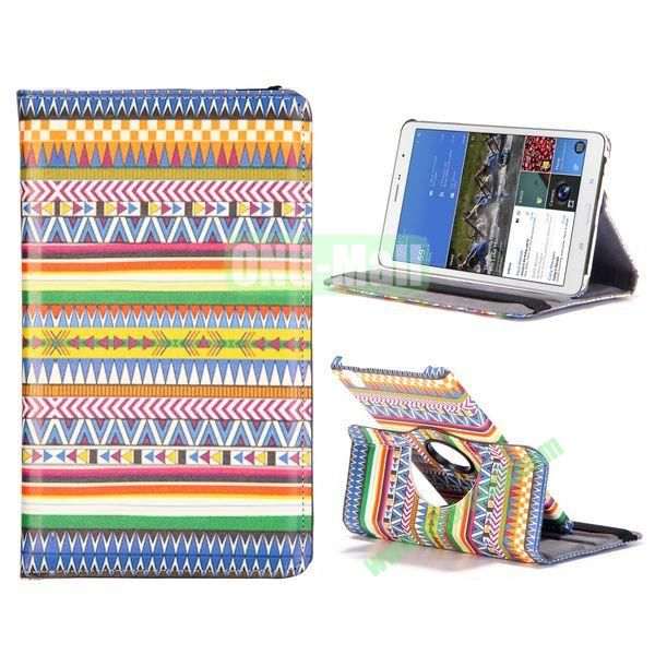 360 Degree Rotatable Leather Case For Samsung Galaxy Tab Pro 8.4 T320 with Elastic Belt (Colorful Bohemian Pattern)