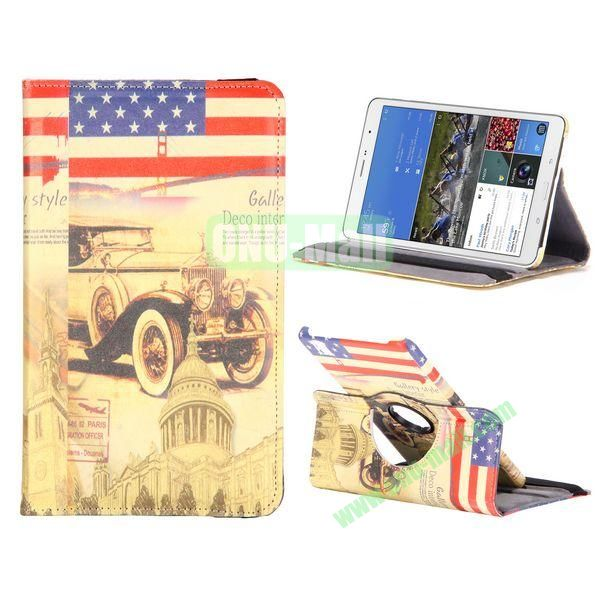 360 Degree Rotatable Leather Case For Samsung Galaxy Tab Pro 8.4 T320 with Elastic Belt (Bubble Car Pattern)