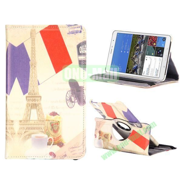 360 Degree Rotatable Leather Case For Samsung Galaxy Tab Pro 8.4 T320 with Elastic Belt (Eiffel Tower Pattern)