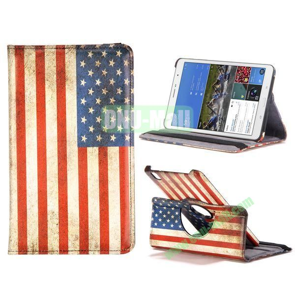 360 Degree Rotatable Leather Case For Samsung Galaxy Tab Pro 8.4 T320 with Elastic Belt (USA National Flag Pattern)