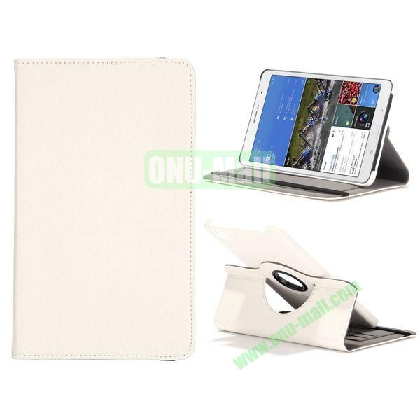 Jeans Texture 360 Degree Rotatable Leather Case For Samsung Galaxy Tab Pro 8.4 T320 with Credit Card Slots (White)