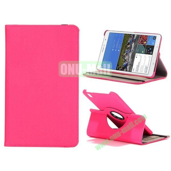 Jeans Texture 360 Degree Rotatable Leather Case For Samsung Galaxy Tab Pro 8.4 T320 with Credit Card Slots (Hot PInk)