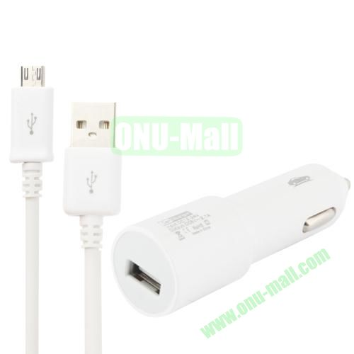 High Quality 90cm 5V 2.0A Micro USB Car Charger for Samsung Galaxy S4, S3, Galaxy Ace 3 S7272, etc (White)