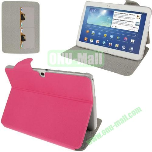 High Quality Discoloring Texture Design Leather Flip Case for Samsung Galaxy Tab 3 (10.1)  P5200  P5210 with HolderCredit Card (Rose)