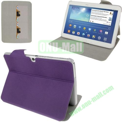 High Quality Discoloring Texture Design Leather Flip Case for Samsung Galaxy Tab 3 (10.1)  P5200  P5210 with HolderCredit Card (Purple)
