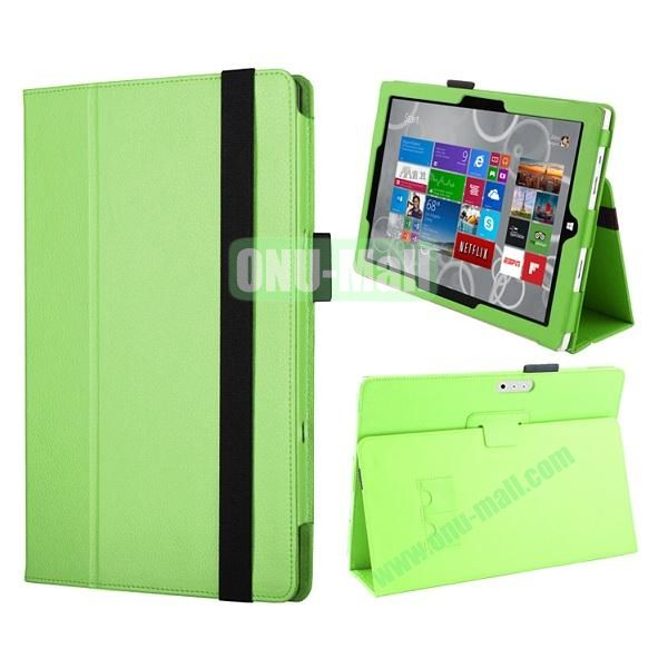 Flip Stand PU Leather Case for Microsoft Surface Pro 3 with Elastic Belt (Green)