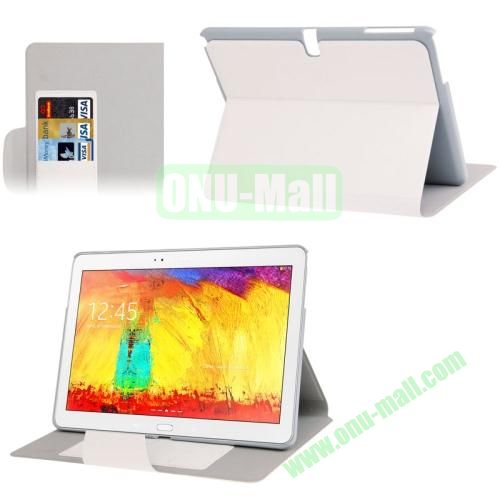 Oracle Texture Leather Case for Samsung Galaxy Note 10.1 2014 Edition P600 with Holder (White)