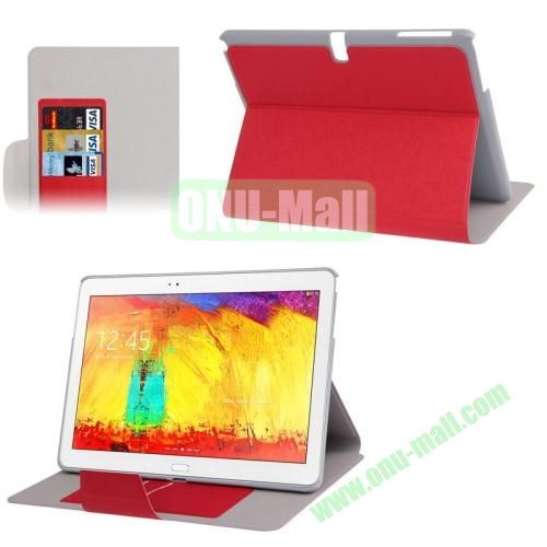 Oracle Texture Leather Case for Samsung Galaxy Note 10.1 2014 Edition P600 with Holder (Red)