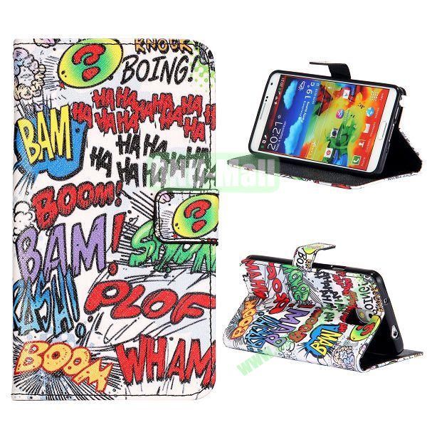 Colorful Various Images Wallet Leather Case for Samsung Galaxy Note 3 N9000 with Credit Card Slots (English Letters Scrawl)