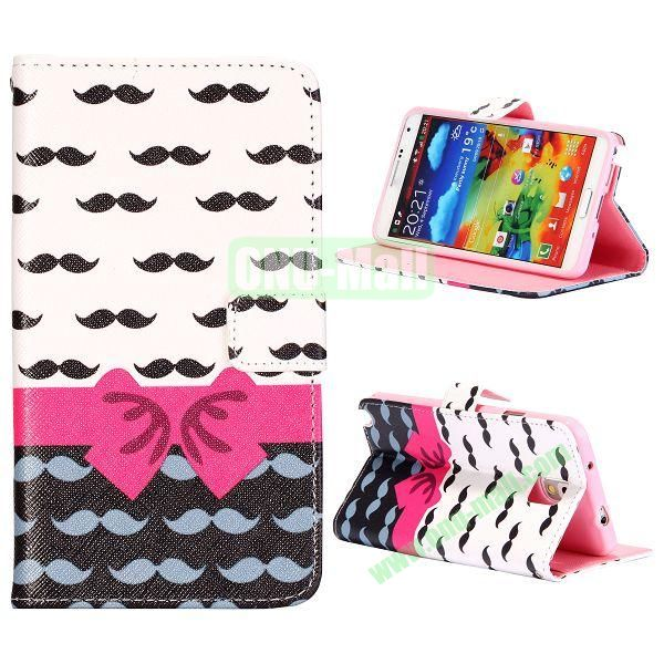 Colorful Various Images Wallet Leather Case for Samsung Galaxy Note 3 N9000 with Credit Card Slots (Bowknot and Moustache)