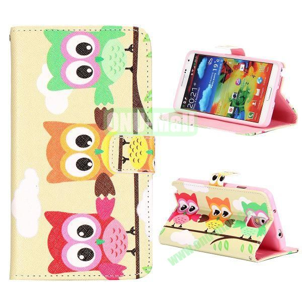 Colorful Various Images Wallet Leather Case for Samsung Galaxy Note 3 N9000 with Credit Card Slots (Three Owls)