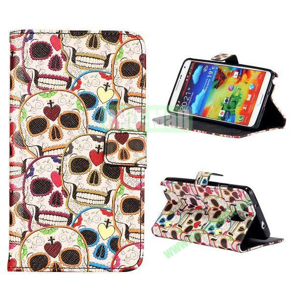 Colorful Various Images Wallet Leather Case for Samsung Galaxy Note 3 N9000 with Credit Card Slots (Skull Pattern)