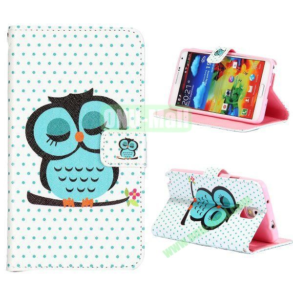 Colorful Various Images Wallet Leather Case for Samsung Galaxy Note 3 N9000 with Credit Card Slots (Lovely Owls)