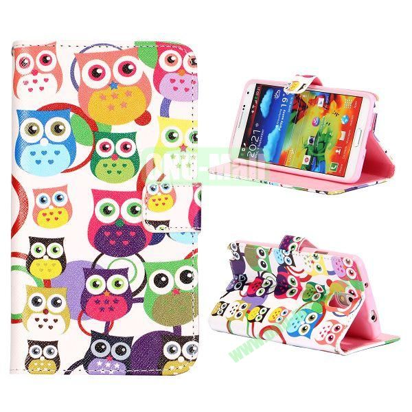 Colorful Various Images Wallet Leather Case for Samsung Galaxy Note 3 N9000 with Credit Card Slots (Cute Owls)