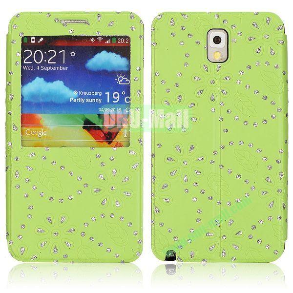 Flower Design Diamond Sticked Caller ID Window Flip Leather Case for Samsung Galaxy Note 3 N9000 (Green)