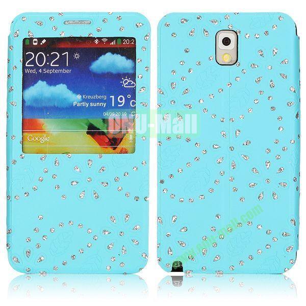 Flower Design Diamond Sticked Caller ID Window Flip Leather Case for Samsung Galaxy Note 3 N9000 (Blue)