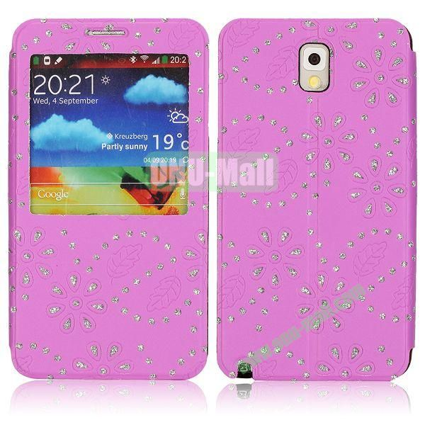 Flower Design Diamond Sticked Caller ID Window Flip Leather Case for Samsung Galaxy Note 3 N9000 (Purple)