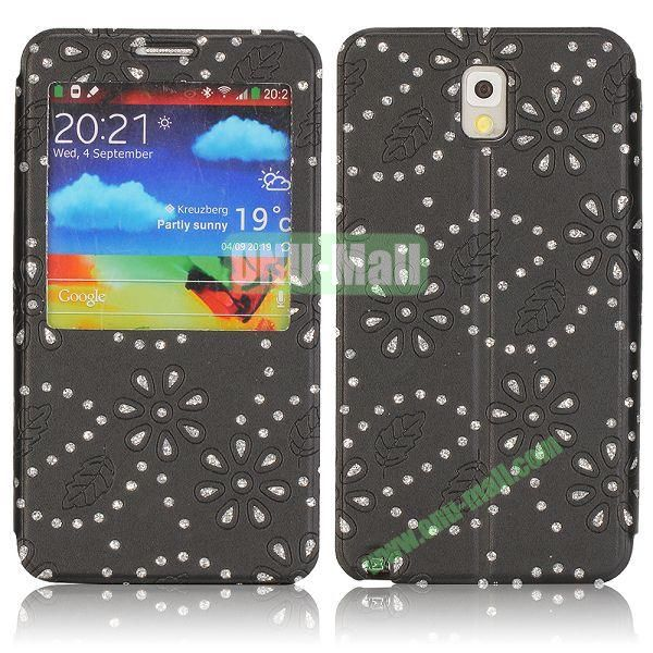 Flower Design Diamond Sticked Caller ID Window Flip Leather Case for Samsung Galaxy Note 3 N9000 (Black)