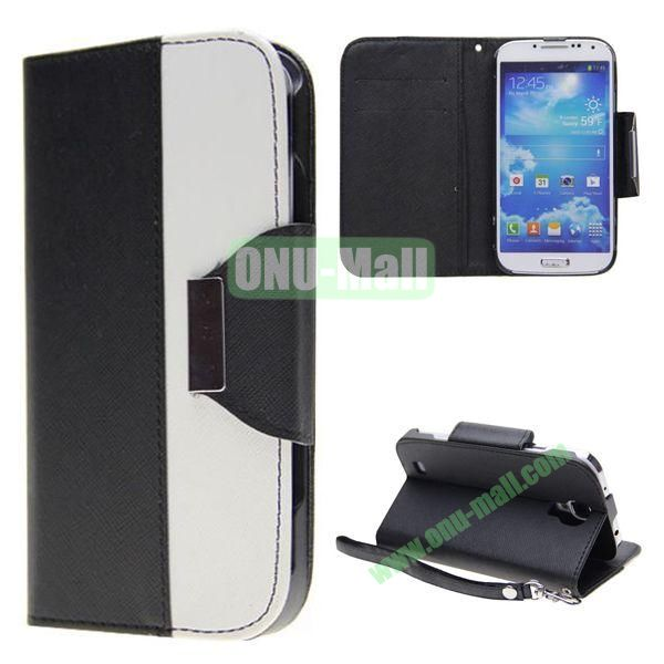 Double Color Mixed Flip Leather Case for Samsung Galaxy S4 with Stand and Card Slots (Black)