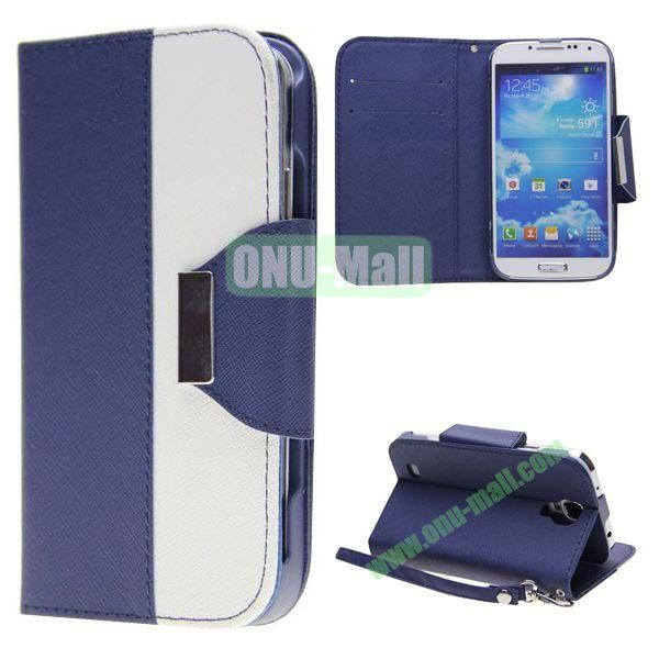 Double Color Mixed Flip Leather Case for Samsung Galaxy S4 with Stand and Card Slots (Blue)