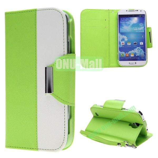 Double Color Mixed Flip Leather Case for Samsung Galaxy S4 with Stand and Card Slots (Green)