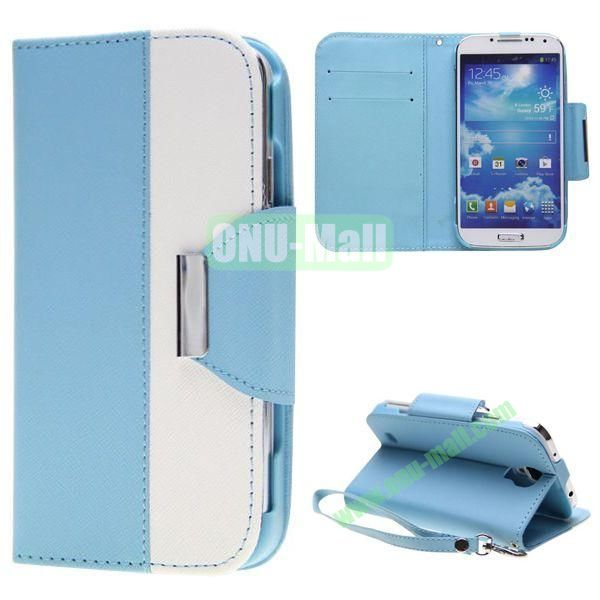 Double Color Mixed Flip Leather Case for Samsung Galaxy S4 with Stand and Card Slots (Light Blue)