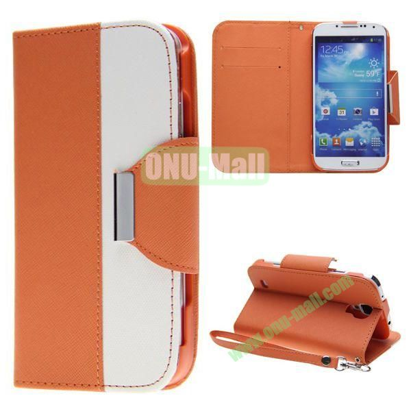 Double Color Mixed Flip Leather Case for Samsung Galaxy S4 with Stand and Card Slots (Orange)