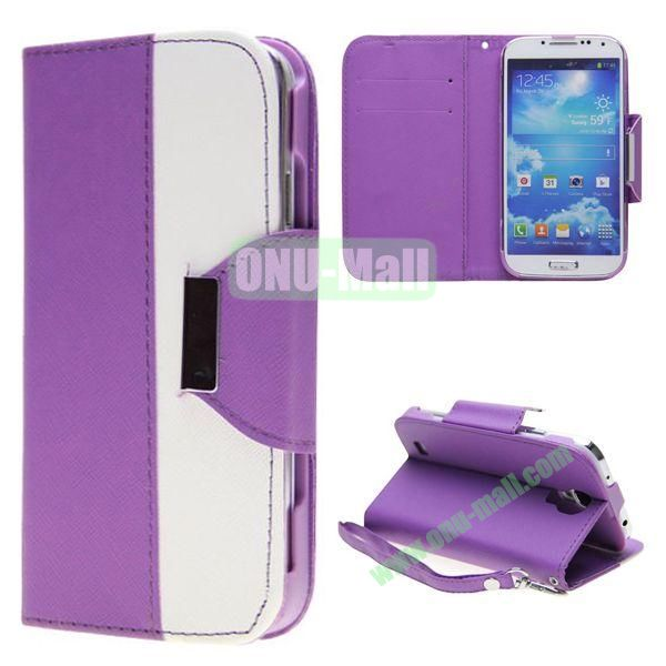 Double Color Mixed Flip Leather Case for Samsung Galaxy S4 with Stand and Card Slots (Purple)