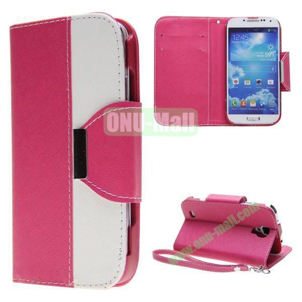 Double Color Mixed Flip Leather Case for Samsung Galaxy S4 with Stand and Card Slots (Rose)