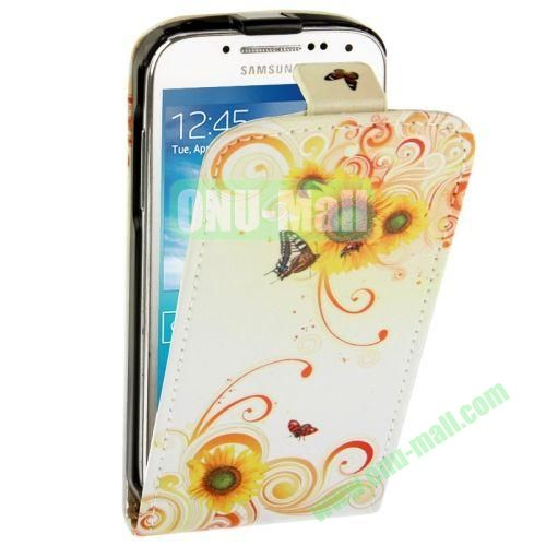 Butterflies and Flowers Pattern Vertical Leather Case for Samsung Galaxy S4 mini  i9190