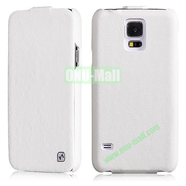 HOCO Duke Series Commercial Style Flip Pattern Leather Case for Samsung Galaxy S5 i9600 G900 (White)