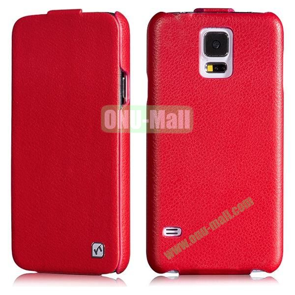 HOCO Duke Series Commercial Style Flip Pattern Leather Case for Samsung Galaxy S5 i9600 G900 (Red)
