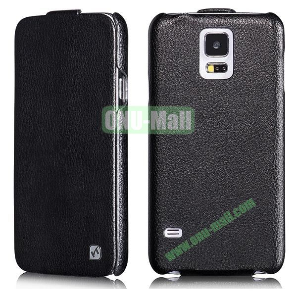 HOCO Duke Series Commercial Style Flip Pattern Leather Case for Samsung Galaxy S5 i9600 G900 (Black)