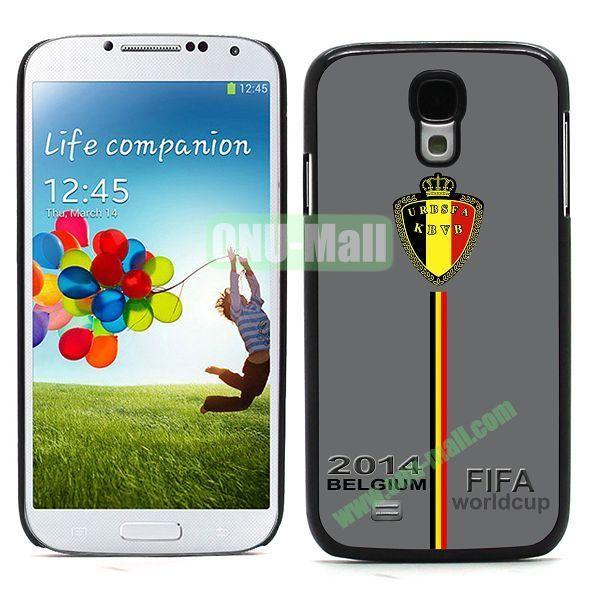 2014 FIFA World Cup Team Flag Pattern Design Aluminium Coated PC Hard Case for Samsung Galaxy S4 i9500 (Belgium B)