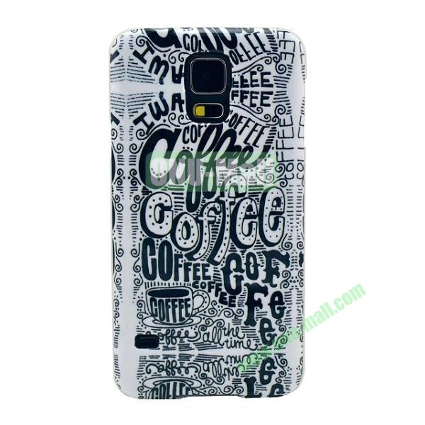 Colorful Painting Glossy Ultraslim TPU Case for Samsung Galaxy S5 I9600 G600 (Coffee)
