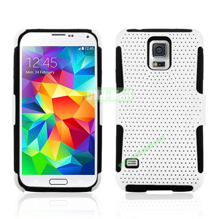 Two in One Pattern Mesh Design Plastic and Silicone Back Case for Samsung Galaxy S5 i9600 (White)