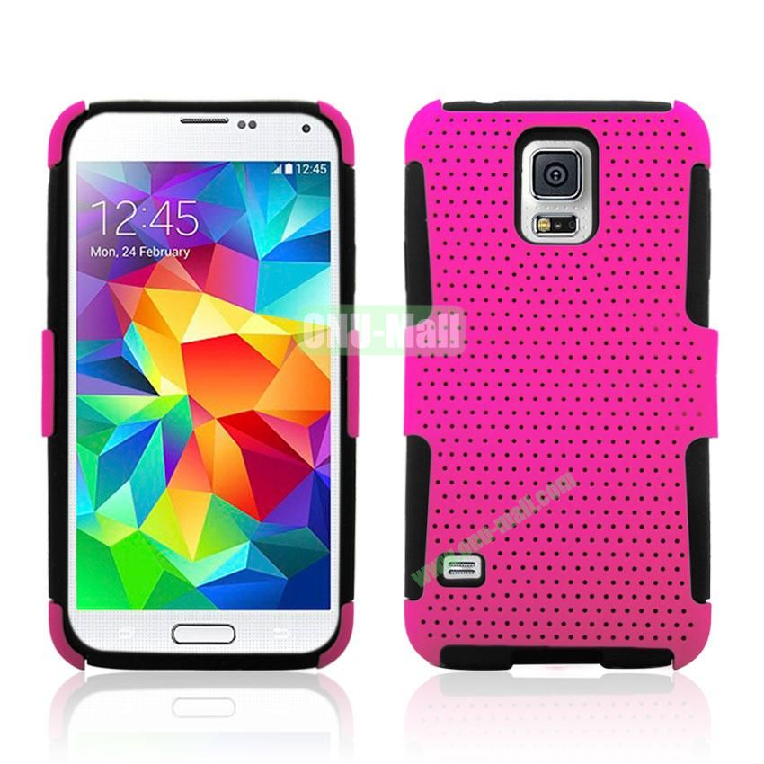 Two in One Pattern Mesh Design Plastic and Silicone Back Case for Samsung Galaxy S5 i9600 (Pink)