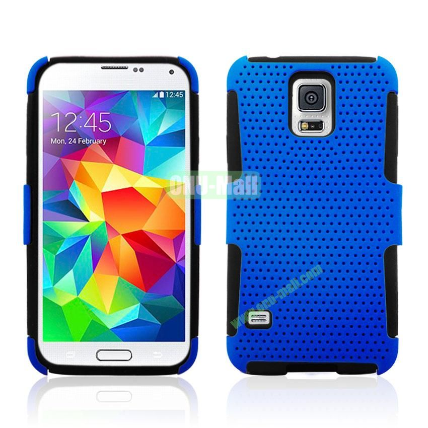 Two in One Pattern Mesh Design Plastic and Silicone Back Case for Samsung Galaxy S5 i9600 (Blue)