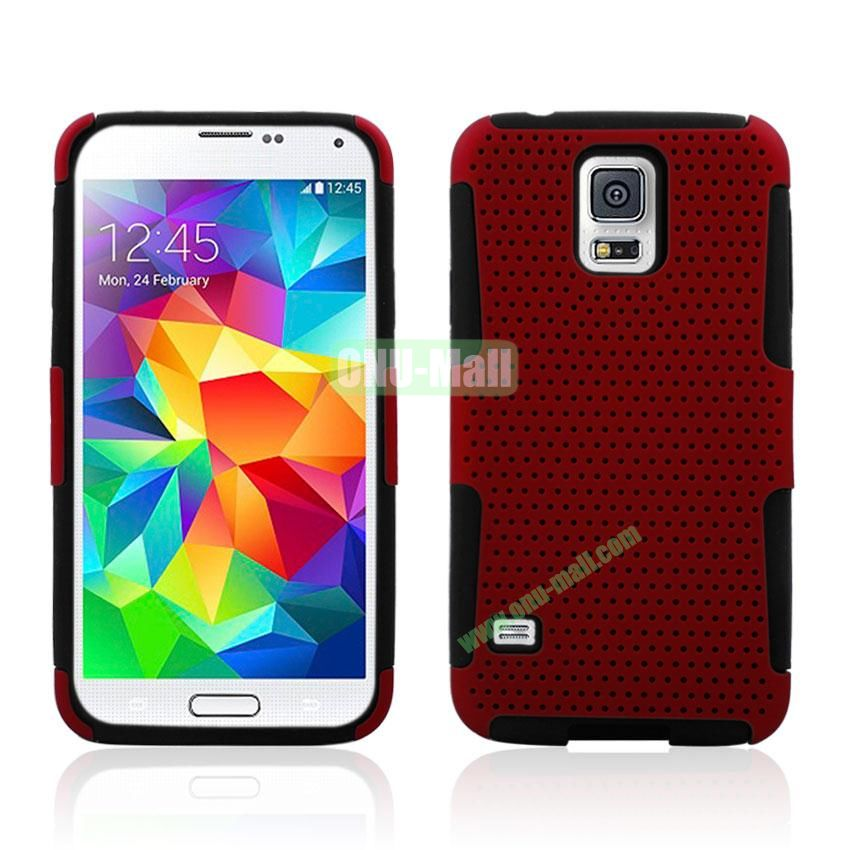 Two in One Pattern Mesh Design Plastic and Silicone Back Case for Samsung Galaxy S5 i9600 (Magenta)
