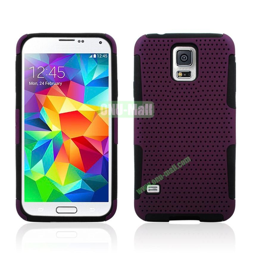 Two in One Pattern Mesh Design Plastic and Silicone Back Case for Samsung Galaxy S5 i9600 (Purple)