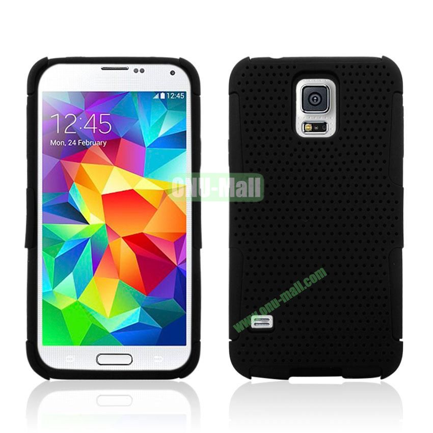 Two in One Pattern Mesh Design Plastic and Silicone Back Case for Samsung Galaxy S5 i9600 (Black)