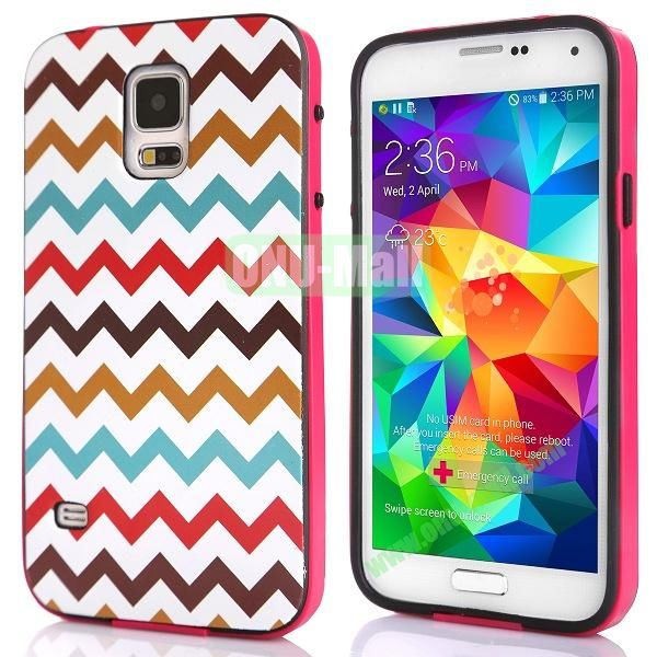 Fashionable 2 in 1 Pattern TPU and PC Back Hard Case for Samsung Galaxy S5 I9600 (Colorful Wave Line)