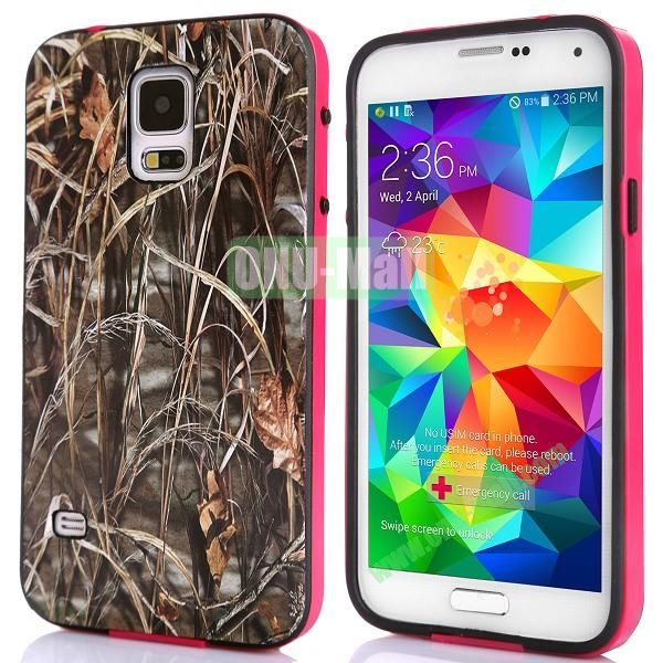 Fashionable 2 in 1 Pattern TPU and PC Back Hard Case for Samsung Galaxy S5 I9600 (Straw Grass)