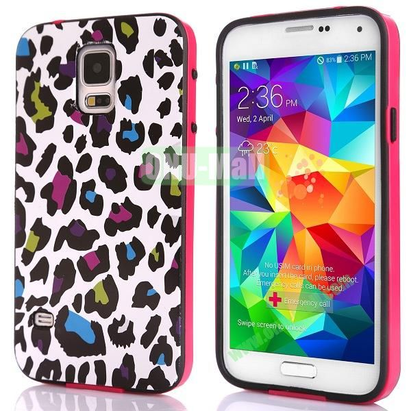 Fashionable 2 in 1 Pattern TPU and PC Back Hard Case for Samsung Galaxy S5 I9600 (Colorful Leopard)