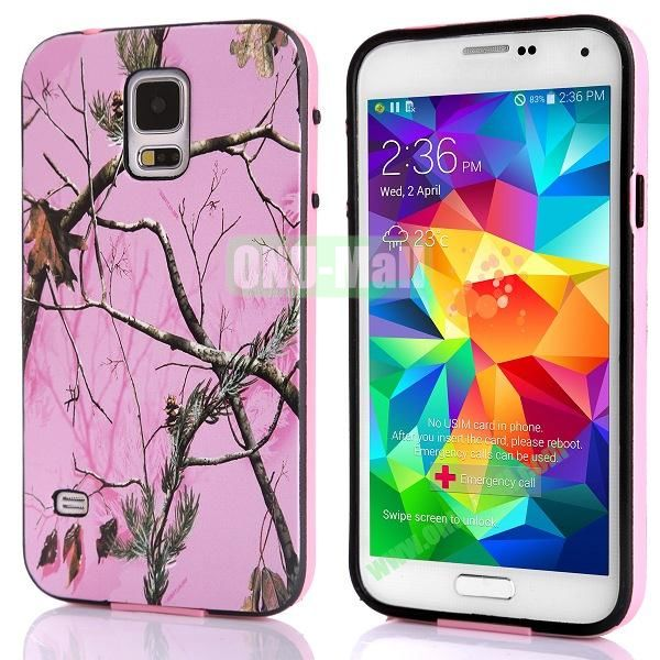 Fashionable 2 in 1 Pattern TPU and PC Back Hard Case for Samsung Galaxy S5 I9600 (Tree Branch Pink)