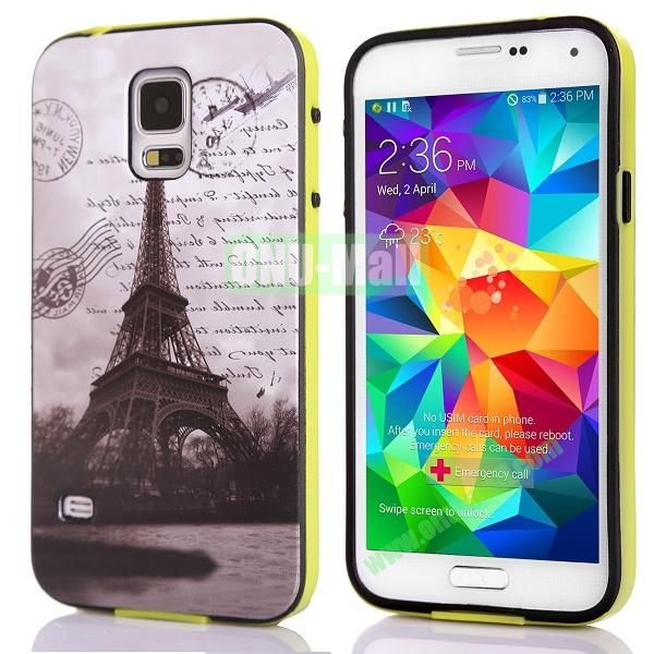 Fashionable 2 in 1 Pattern TPU and PC Back Hard Case for Samsung Galaxy S5 I9600 (Eiffel Tower)