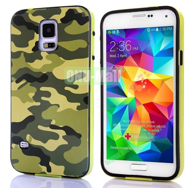 Fashionable 2 in 1 Pattern TPU and PC Back Hard Case for Samsung Galaxy S5 I9600 (Green Camouflage)