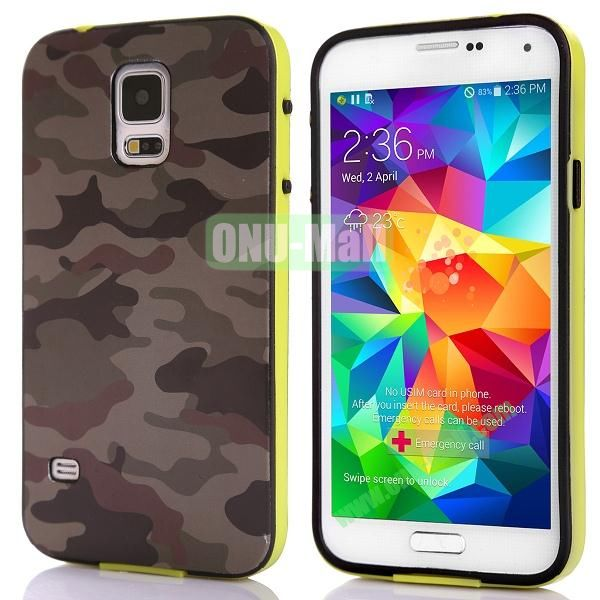Fashionable 2 in 1 Pattern TPU and PC Back Hard Case for Samsung Galaxy S5 I9600 (Brown and Black Camouflage)