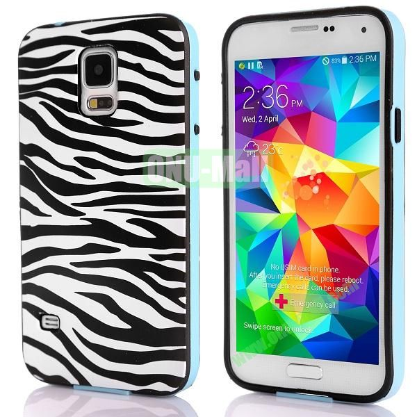 Fashionable 2 in 1 Pattern TPU and PC Back Hard Case for Samsung Galaxy S5 I9600 (Zebra Stripes)