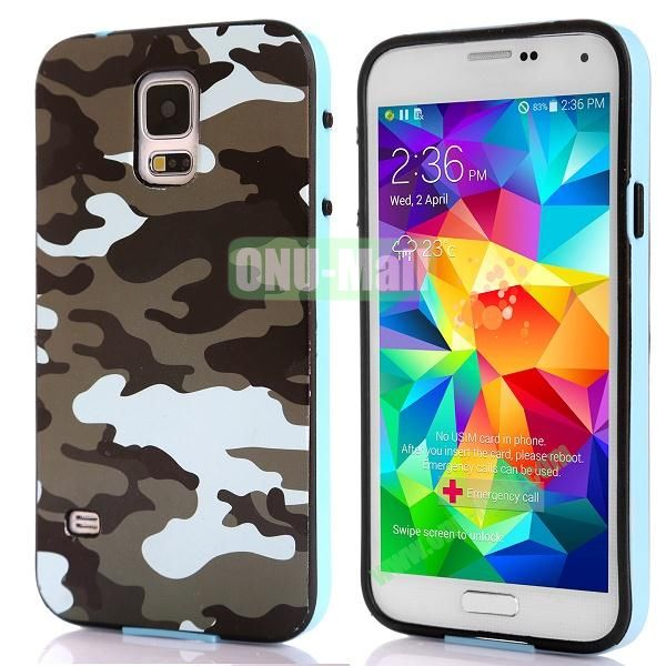 Fashionable 2 in 1 Pattern TPU and PC Back Hard Case for Samsung Galaxy S5 I9600 (Brown and White Camouflage)